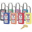 "No. 410 411 Lightweight Xenoy Safety Lockout Padlocks Purple Safety Padlock 3""Tall Xenoy Body. 1/4"""